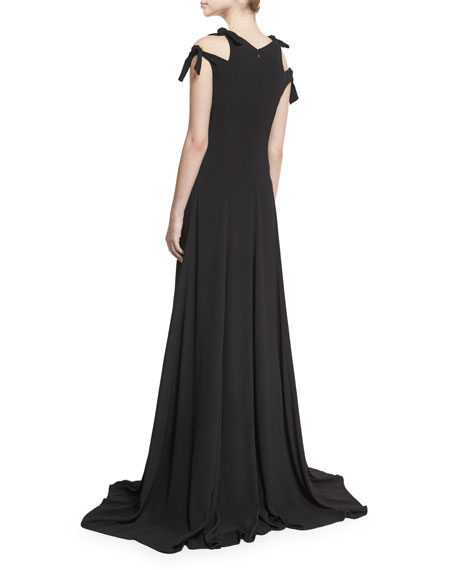 Knotted Cutout V-Neck Gown, Black