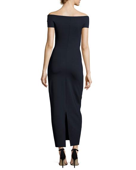 Delmi Off-the-Shoulder Scuba Maxi Dress, Navy