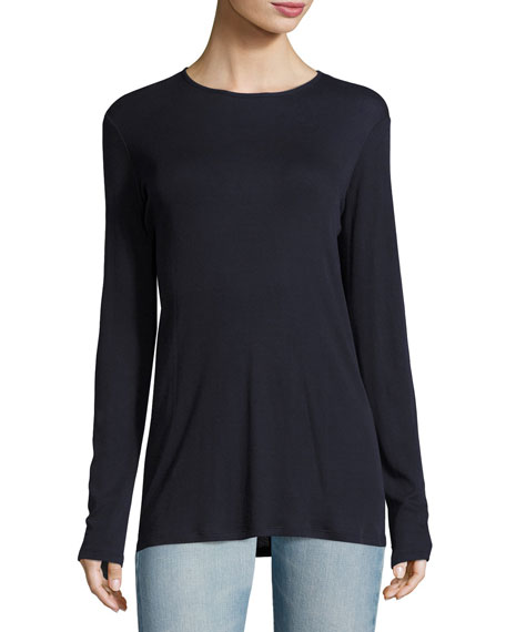 Lorena Long-Sleeve Cotton Jersey Pullover, Navy