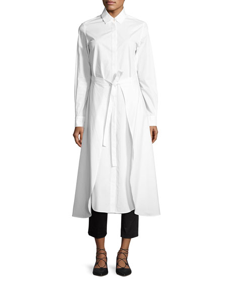 Rosetta Getty Poplin Apron-Wrap Shirtdress, White