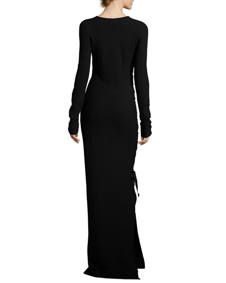Miel Ruched Long-Sleeve Gown, Black