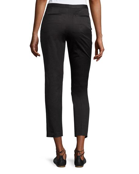 Cropped Sateen Skinny Trousers, Black