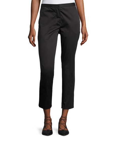 Rosetta Getty Cropped Sateen Skinny Trousers, Black
