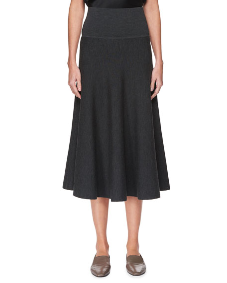 THE ROW Alessia Wool A-Line Midi Skirt, Black