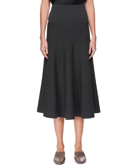 Alessia Wool A-Line Midi Skirt, Black
