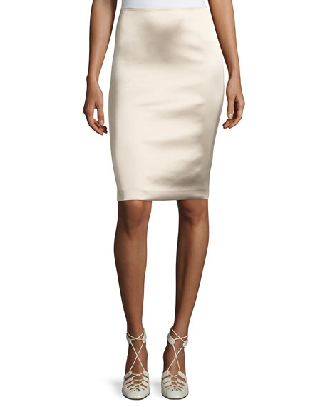 THE ROW Brenner Satin Pencil Skirt, Khaki