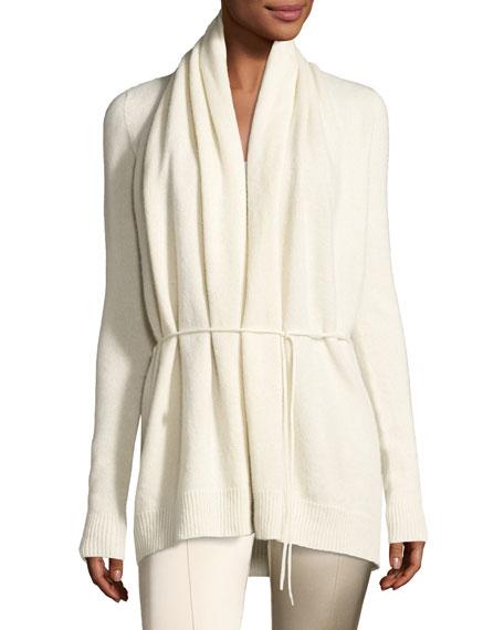 Sarene Cashmere Tie-Waist Cardigan, Ivory