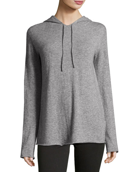 Dina Cashmere-Silk Hoodie, Light Gray