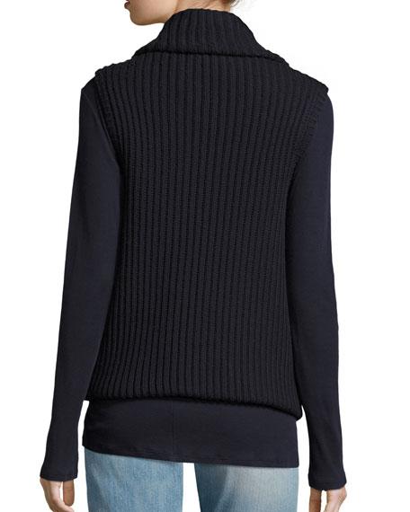 Maisie Ribbed Virgin Wool Cardigan Vest, Navy