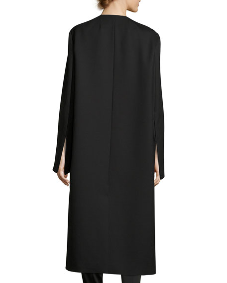 Malma Single-Breasted Long Coat, Black