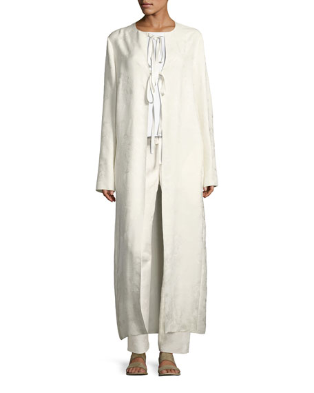 Tiel Silk Jacquard Topper Coat, Off White