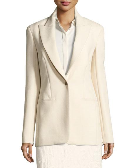 Ibner Stretch Wool One-Button Jacket, Light Beige