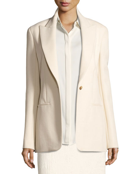 THE ROW Ibner Stretch Wool One-Button Jacket, Light