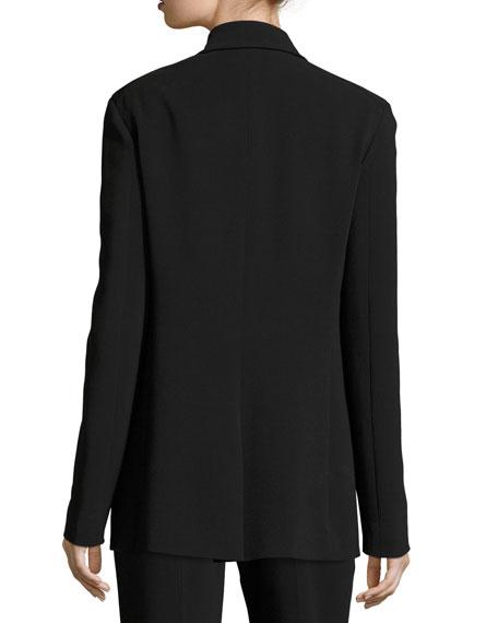 Ibner Single-Button Long Blazer, Black