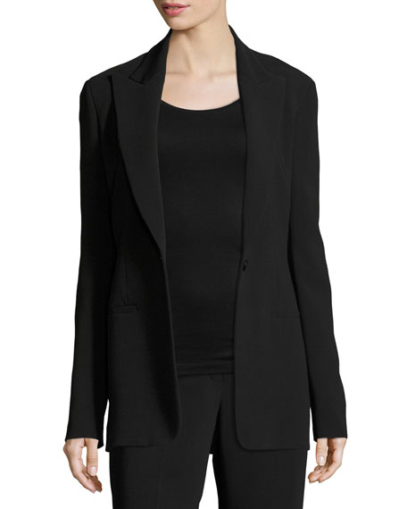 Ibner Single-Button Long Blazer, Black