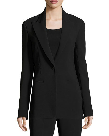 THE ROW Ibner Single-Button Long Blazer, Black