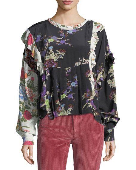 Isabel Marant Inny Bouquet Floral Mix-Print Blouse