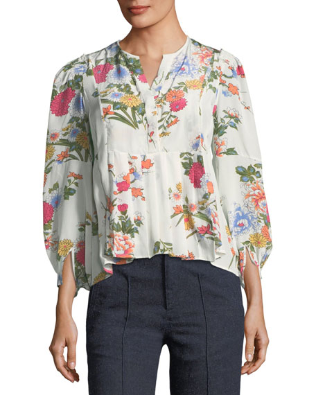 Isabel Marant Ivia Floral-Print Silk Blouse