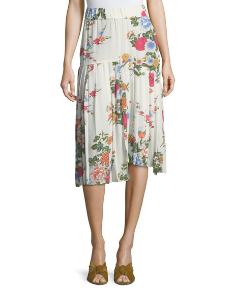 Isabel Marant Inaya Bouquet Floral Pleated Midi Skirt