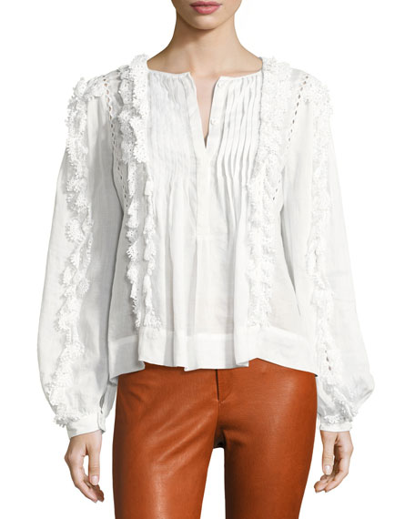 Isabel Marant Nell Crochet-Lace Long-Sleeve Top, White