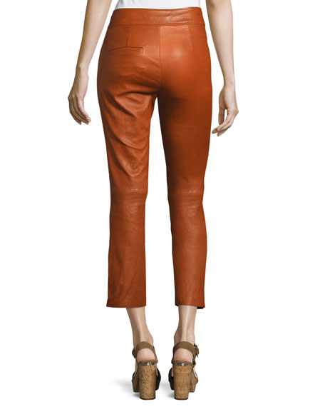 Covida Cropped Kick-Flare Leather Pants, Brown