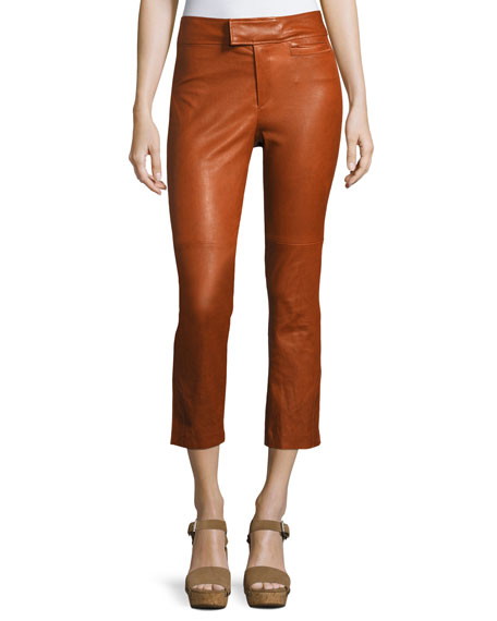 Isabel Marant Covida Cropped Kick-Flare Leather Pants, Brown