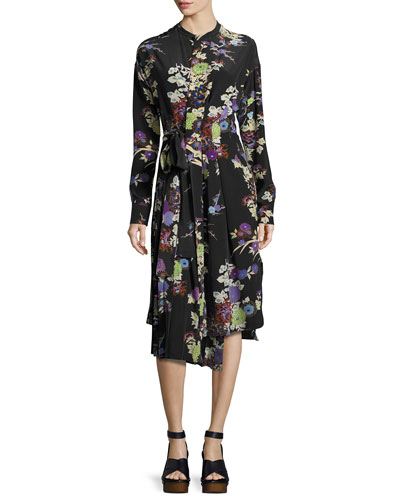 Iam Bouquet-Print Silk Dress, Black
