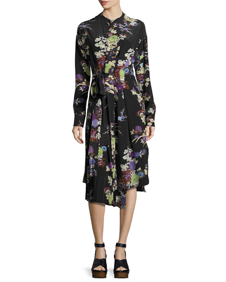 Iam Bouquet-Print Silk Dress, Black