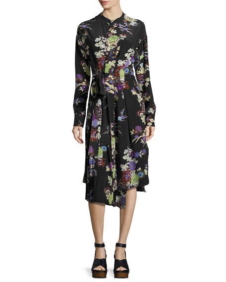 Iam Floral Silk Wrap Dress - Black Size 40 Fr in Black Print