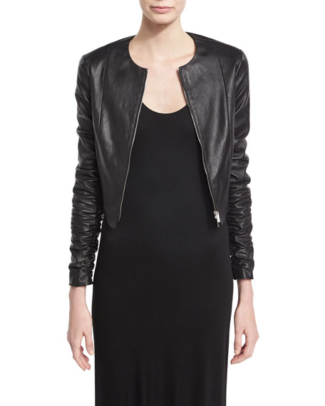 THE ROW Razna Leather Ruched-Sleeve Jacket, Black
