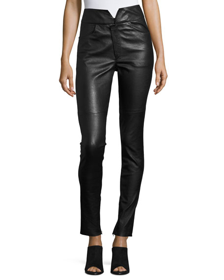 Eydie Leather High-Waist Skinny Pants, Black