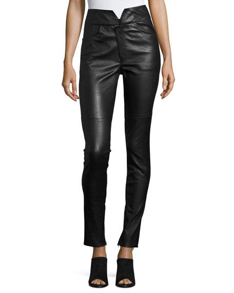 Isabel Marant Eydie Leather High-Waist Skinny Pants, Black