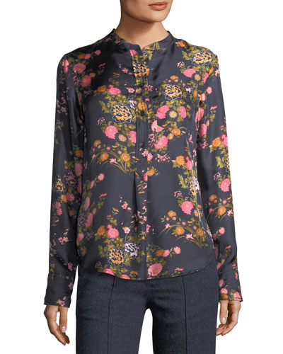 Rusak Floral-Print Silk Shirt