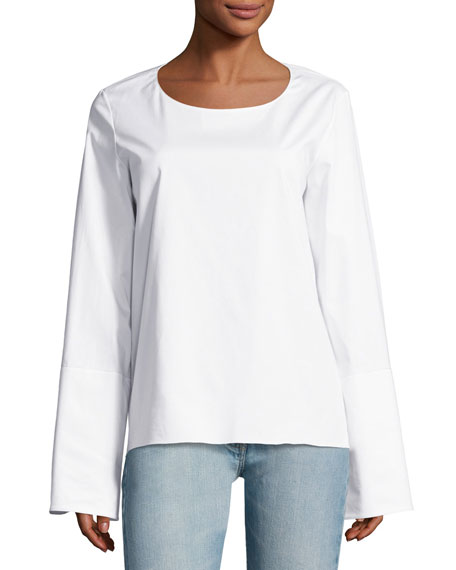 THE ROW Ivy Poplin Bell-Sleeve Top, White