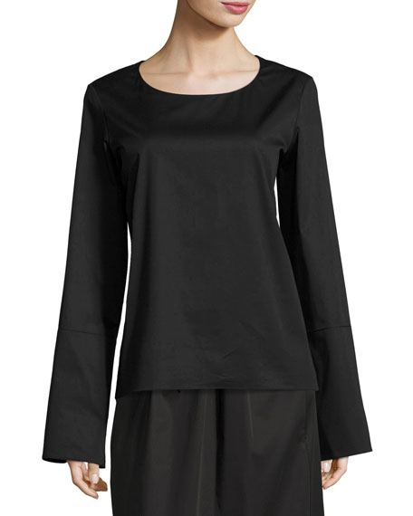 Ivy Cady Bell-Sleeve Top, Black
