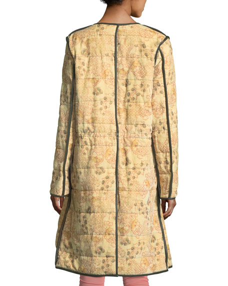 Geist Floral-Print Zip-Front Quilted Twill Coat