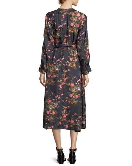 Olympia Floral Silk Midi Dress