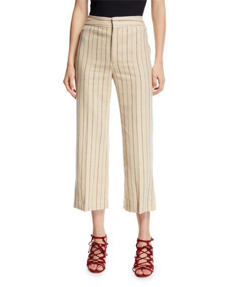Keroan Wide-Leg Crop Pinstripe Flannel Pants