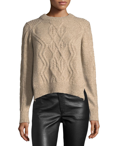 Isabel Marant Elena Cable-Knit Crewneck Sweater