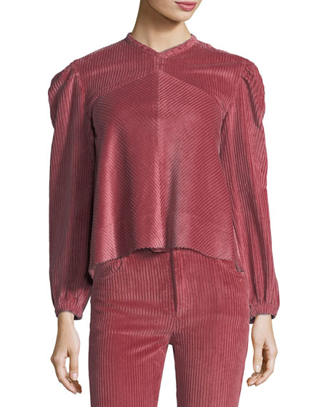Riley Long-Sleeve Corduroy Blouse