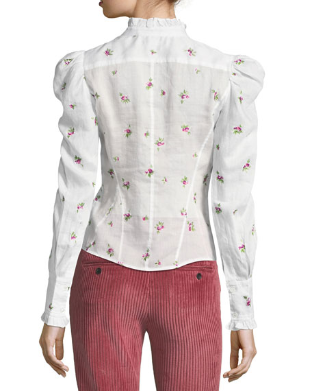 Utah Rose-Embroidered Puff-Sleeve Blouse, White