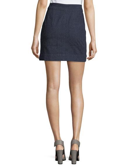 Penelope Denim Zip-Front Miniskirt