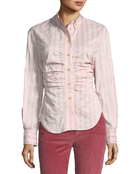 Isabel Marant Verona Striped Long-Sleeve Blouse