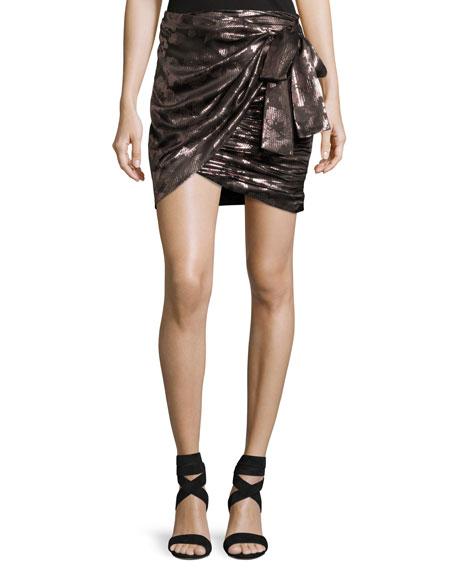 Isabel Marant Maldy Metallic Pixel Floral Wrap Miniskirt,
