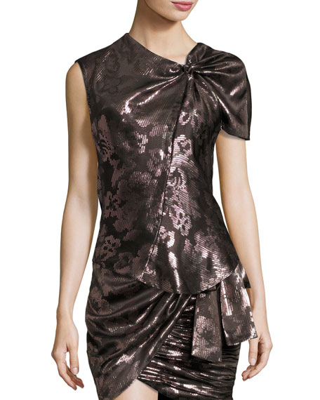Isabel Marant Malo Metallic Floral One-Sleeve Knotted Top,