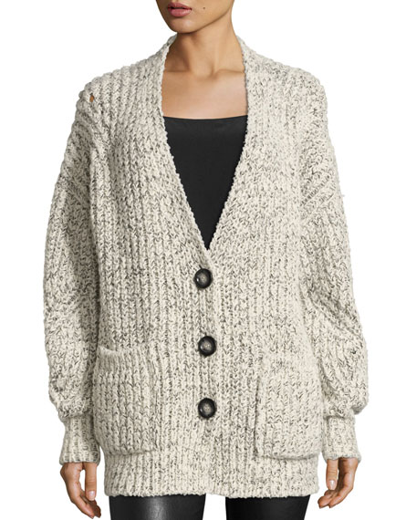 Favian Chunky Oversized Cardigan, White/Black