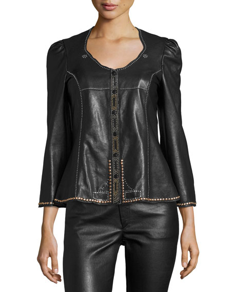 Isabel Marant Blizzy Studded Leather Jacket, Black and