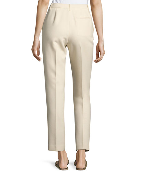 William Single-Pleat Straight-Leg Pants, Light Beige
