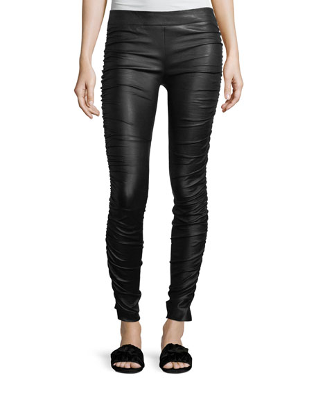 Orshen Ruched Leather Leggings