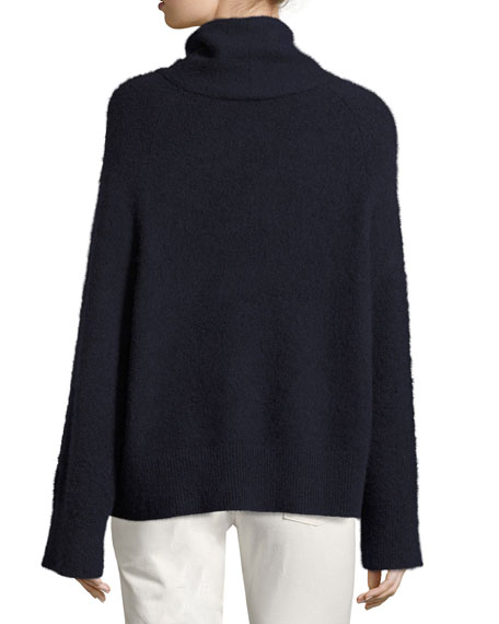 Nonti Cashmere-Silk Turtleneck Sweater, Navy